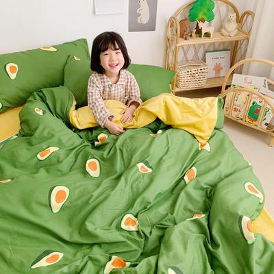 2019新款-全棉+水晶絨棉絨四件套小模特 床單款三件套1.2m(4英尺)床 牛油果