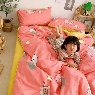 2019新款-全棉+水晶絨棉絨四件套小模特 床單款三件套1.2m(4英尺)床 氣球熊