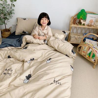 2019新款-全棉+水晶絨棉絨四件套小模特 床單款三件套1.2m(4英尺)床 仙人掌