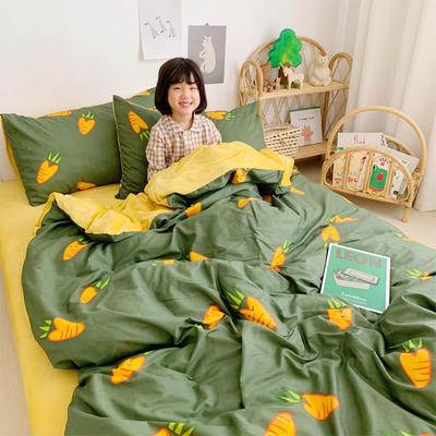 2019新款-全棉+水晶絨棉絨四件套小模特 床單款三件套1.2m(4英尺)床 小蘿卜