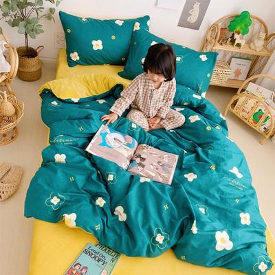 2019新款-全棉+水晶絨棉絨四件套小模特 床單款三件套1.2m(4英尺)床 小墨花