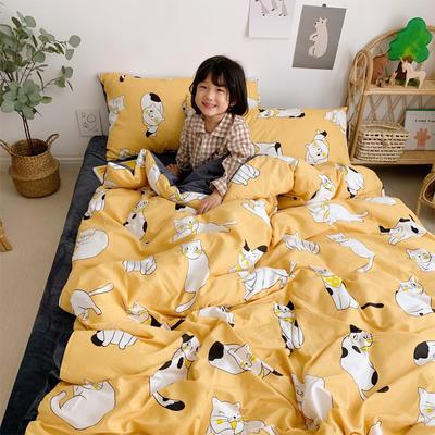 2019新款-全棉+水晶絨棉絨四件套小模特 床單款三件套1.2m(4英尺)床 幸運貓