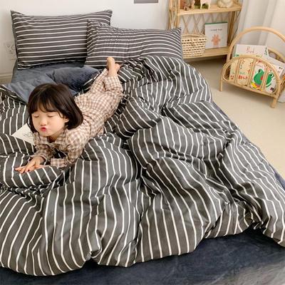 2019新款-全棉+水晶絨棉絨四件套小模特 床單款三件套1.2m(4英尺)床 夜華