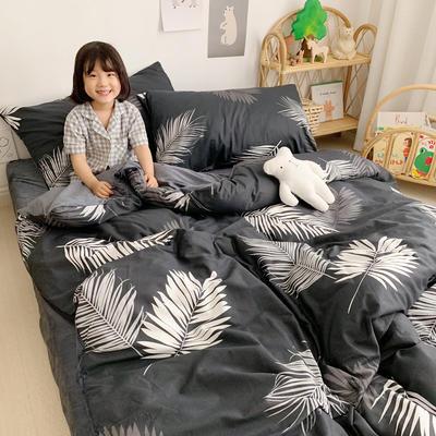 2019新款-全棉+水晶絨棉絨四件套小模特 床單款三件套1.2m(4英尺)床 羽墨