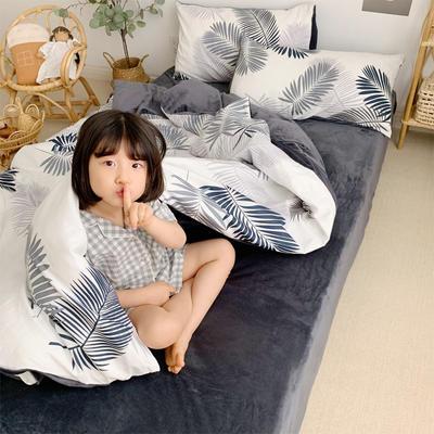 2019新款-全棉+水晶絨棉絨四件套小模特 床單款三件套1.2m(4英尺)床 羽葉