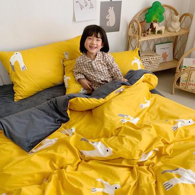 2019新款-全棉+水晶絨棉絨四件套小模特 床單款三件套1.2m(4英尺)床 自由飛翔