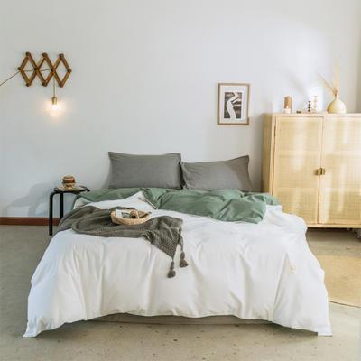 2019新款-全棉水洗棉单被套 150x200cm 白+墨子绿