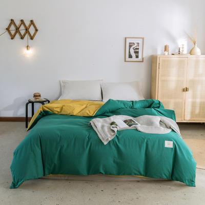 2019新款-全棉水洗棉单被套 150x200cm 翠绿+绅士黄