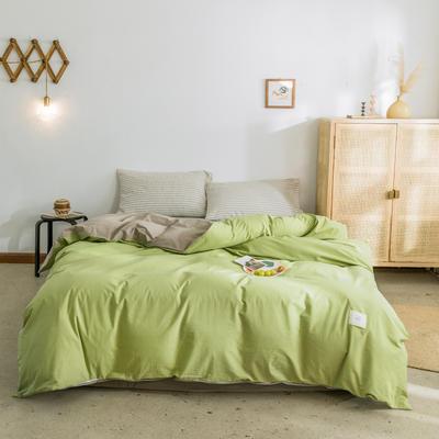 2019新款-全棉水洗棉单被套 150x200cm 果绿+卡其