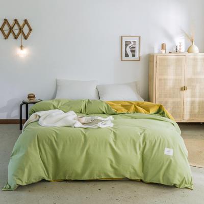 2019新款-全棉水洗棉单被套 150x200cm 果绿+绅士黄