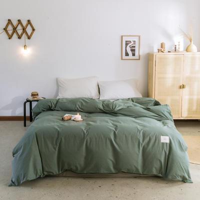 2019新款-全棉水洗棉单被套 150x200cm 墨子绿