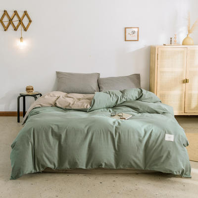 2019新款-全棉水洗棉单被套 150x200cm 墨子绿+卡其