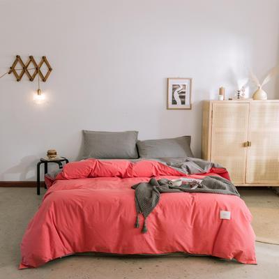 2019新款-全棉水洗棉单被套 150x200cm 珊瑚红+绅士灰