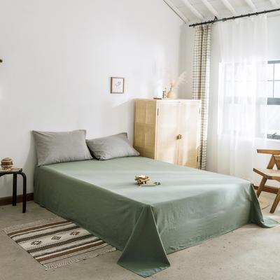 2019新款-全棉水洗棉单床单 120cmx230cm 墨子绿
