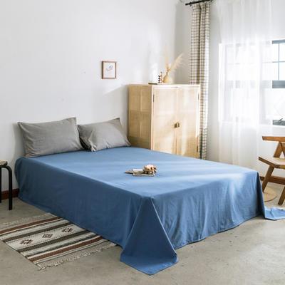2019新款-全棉水洗棉单床单 120cmx230cm 牛仔蓝