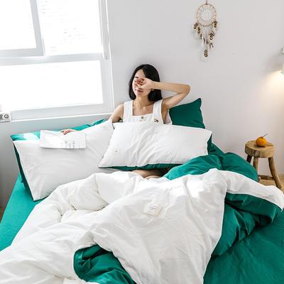 2019新款-全棉水洗棉四件套 床单款三件套1.2m(4英尺)床 白+翠绿