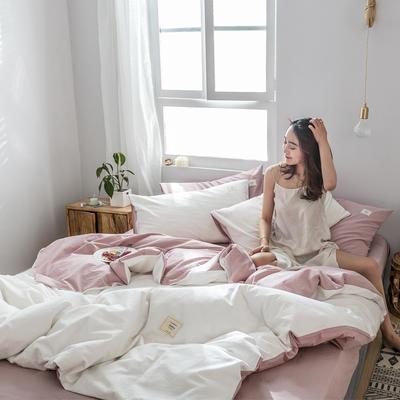 2019新款-全棉水洗棉四件套 床单款三件套1.2m(4英尺)床 白+绅士红