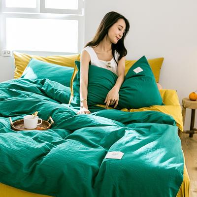 2019新款-全棉水洗棉四件套 床单款三件套1.2m(4英尺)床 翠绿+绅士黄