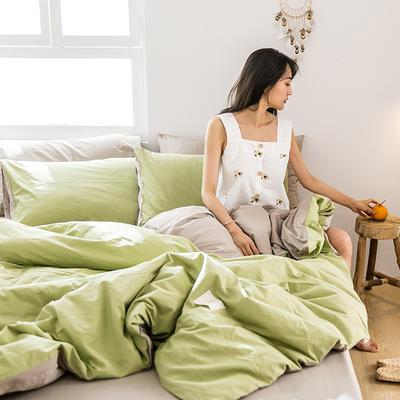 2019新款-全棉水洗棉四件套 床单款三件套1.2m(4英尺)床 果绿+卡其