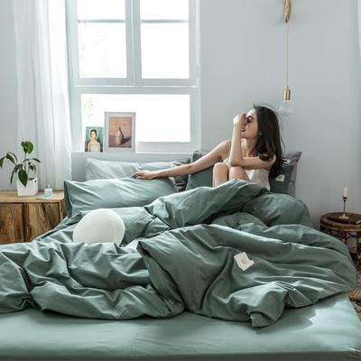 2019新款-全棉水洗棉四件套 床单款三件套1.2m(4英尺)床 墨子绿