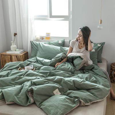 2019新款-全棉水洗棉四件套 床单款三件套1.2m(4英尺)床 墨子绿+卡其