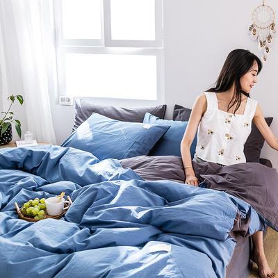 2019新款-全棉水洗棉四件套 床单款三件套1.2m(4英尺)床 牛仔蓝+低调灰