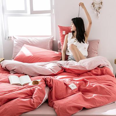 2019新款-全棉水洗棉四件套 床单款三件套1.2m(4英尺)床 珊瑚红+绅士红