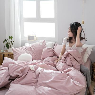 2019新款-全棉水洗棉四件套 床单款三件套1.2m(4英尺)床 绅士红