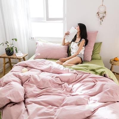 2019新款-全棉水洗棉四件套 床单款三件套1.2m(4英尺)床 绅士红+果绿