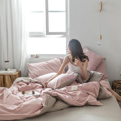 2019新款-全棉水洗棉四件套 床单款三件套1.2m(4英尺)床 绅士红+卡其