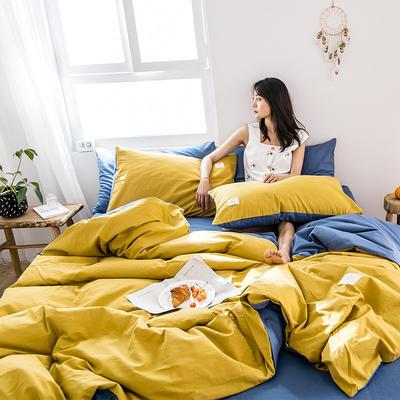 2019新款-全棉水洗棉四件套 床单款三件套1.2m(4英尺)床 绅士黄+牛仔蓝