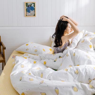 2019新款-小清新四件套 三件套1.2m(4英尺)床 黄草莓