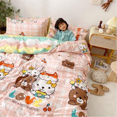 2020年新款-13070全棉日系卡通四件套 床单款三件套1.2m(4英尺)床 兰茜