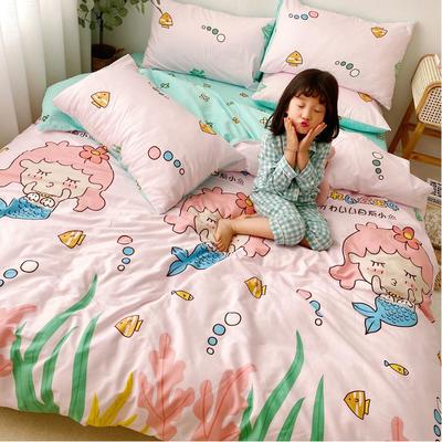 2020年新款-13070全棉日系卡通四件套 床单款三件套1.2m(4英尺)床 美人鱼