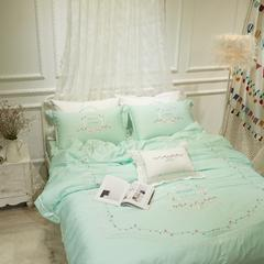 竹语粗棉绣花系列-琉璃绿色 小抱枕一个(含枕芯) 琉璃绿色