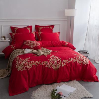 欧式宫廷绣花款系列(大红浪漫人生) 标准(1.5-1.8m) 大红浪漫人生