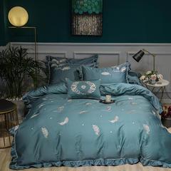 2018新款-60长绒棉刺绣四件套(卡米拉) 2.0m(6.6英尺)床 卡米拉浅石蓝