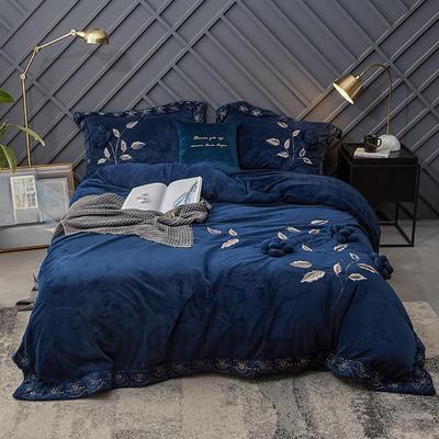 2018新款牛奶绒工艺款四件套 1.5m(5英尺)床 蓝色