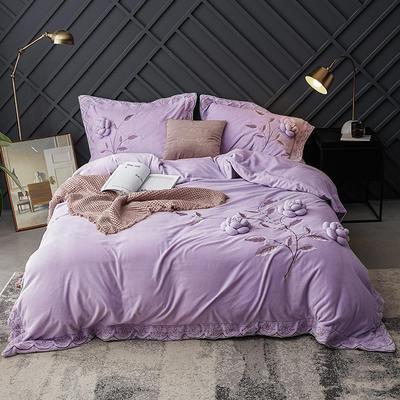 2018新款牛奶绒工艺款四件套 1.5m(5英尺)床 紫色