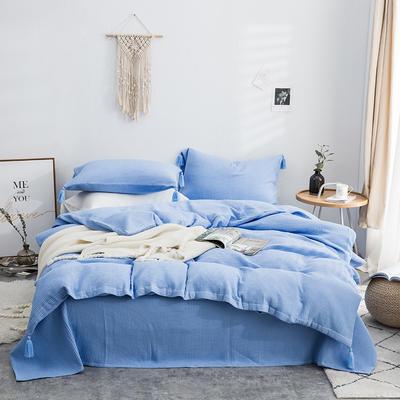 2019新款精梳全棉华夫格纽扣流苏四件套 1.5m(5英尺)床 羊绒蓝