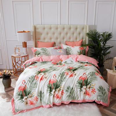 2019春夏新品--长绒棉印花系列 标准=被套:200*230cm 粉红火烈