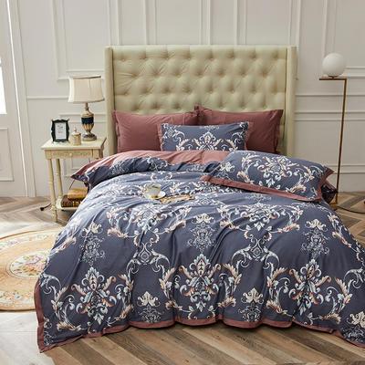 2019春夏新品--长绒棉印花系列 标准=被套:200*230cm 洛可可-蓝