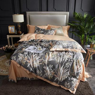 2019春夏新品--长绒棉印花系列 标准=被套:200*230cm 伊顿-灰