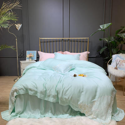 2019新款60兰精天丝四件套-珊瑚物语 1.8m(6英尺)床 珊瑚物语-珊瑚绿