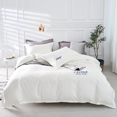 2019新款纯色60长绒棉刺绣四件套 1.5m(5英尺)床 爱琴海(暮光白)