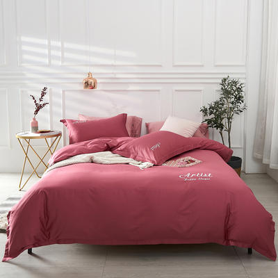 2019新款纯色60长绒棉刺绣四件套 1.5m(5英尺)床 爱神色(胭脂红)
