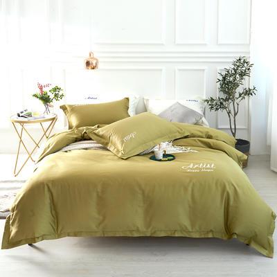 2019新款纯色60长绒棉刺绣四件套 1.5m(5英尺)床 春之神(橄榄绿)