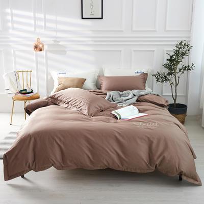 2019新款纯色60长绒棉刺绣四件套 1.5m(5英尺)床 富裕色(摩卡棕)
