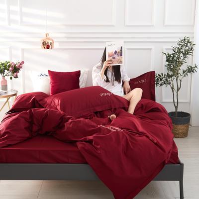 2019新款纯色60长绒棉刺绣四件套 1.5m(5英尺)床 酒神色(酒红色)