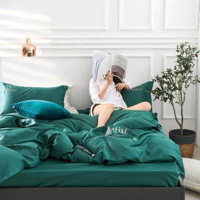 2019新款纯色60长绒棉刺绣四件套 1.5m(5英尺)床 神使色(森林绿)